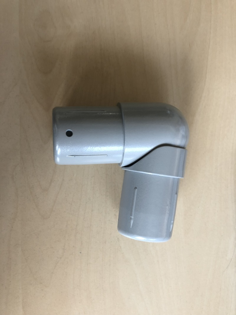 Arc de main courante en h/être 90 /° pour main courante avec diam/ètre 42 mm perc/é